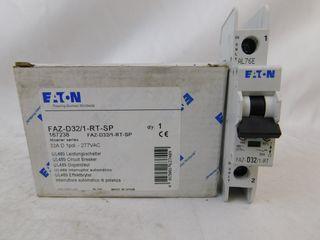 (35) Eaton FAZ-D32/1-RT-SP Plug In FAZ 1P 32A 120/240VAC 50/60Hz