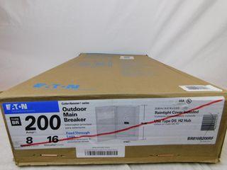 (1) Eaton BR816B200RF Main Breaker Panel Type BR 200A 120/240VAC 1 Ph 16 Cir 8 Sp NEMA Type 3R