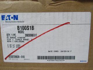 (4) Eaton B100S1B Manual Starter AC 2P 20A 240VAC 1Ph 3HP