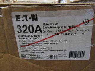 (2) Eaton UATH7330UFLCH Meter Socket Ringless 320A 600VAC 3 Ph 4 Wire 7 Jaws