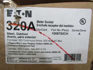 (1) Eaton 1008792CH Meter Socket 320A 600VAC 1 Ph 3 Wire 5 Jaws NEMA Type 3R