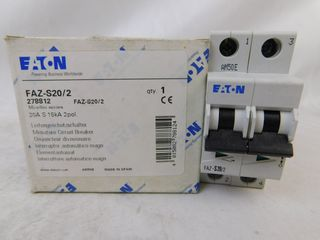 (50) Eaton FAZ-S20/2 Plug In S Frame 2P 20A 120/240VAC 50/60Hz