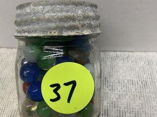 HALF PINT JAR OF MARBLES - ZINC LID / GLASS INSERT