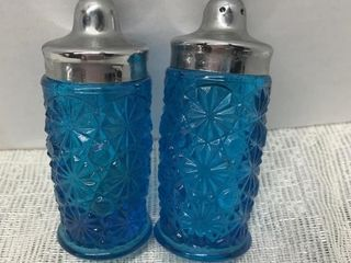 PAIR OF BLUE GLASS SALT AND PEPPER SHAKERS