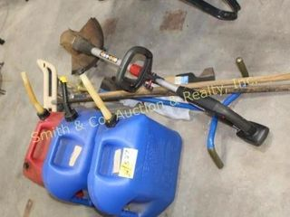 3 GAS CANS, YARD TOOLS, MOWER BLADES