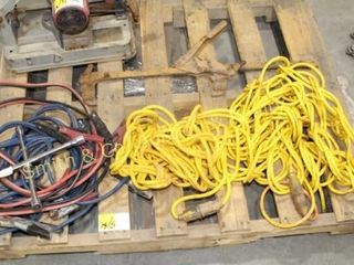 2 JUMPER CABLES, 2 EXT. CORDS, LUG WRENCH