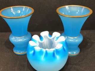 2 Blue Vases and Rose Bowl