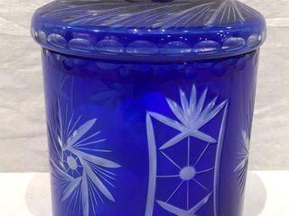 Romanian Blue Cut Glass Jar w  lid