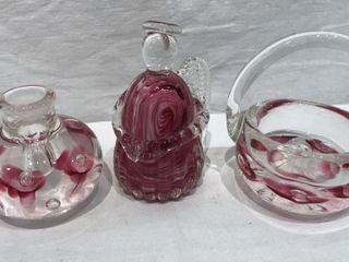 3  Joe Rice Blown Glass Decorative Pieces