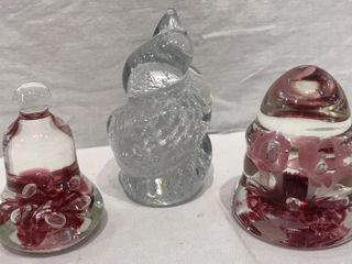 3  Blown Glass Paperweights  2 by Joe Rice