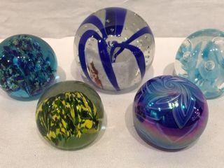 5  Glass Ball Paperweights