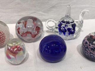 6  Round Blown Glass Paperweights