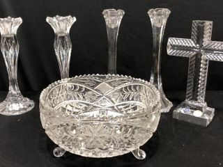 Crystal Bowl  Candlesticks and Cross