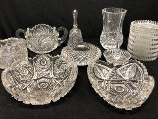 9 Pieces  Cut Glass Dishes  Vase  Coasters