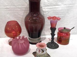 Assorted Pink Glassware  large Vase