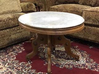 Marble Top Eastlake Style Oval Table