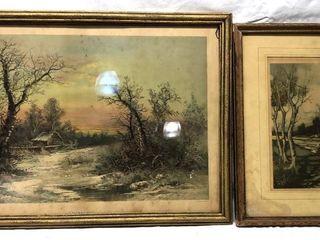 2 Antique landscape Prints