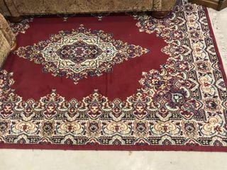 Red Patterned Area Rug w  Fringe  92 x 67