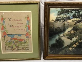 landscape Print and Embroidered Picture