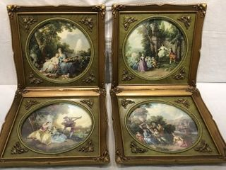 4 Victorian Style Ornate Framed Pictures