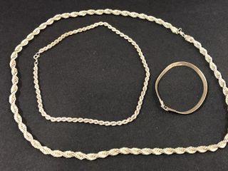 2  925 Silver Necklaces   1  Bracelet