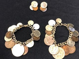 2 Coin Charm Bracelets with matching Earrings