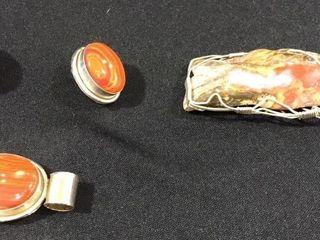 925 Earrings   Pendant in Red Stone