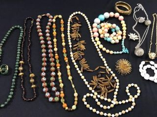 Assorted Bead Necklaces  Bracelets  Pins