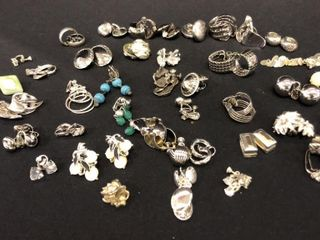 large Assortment of Silver Color Earrings