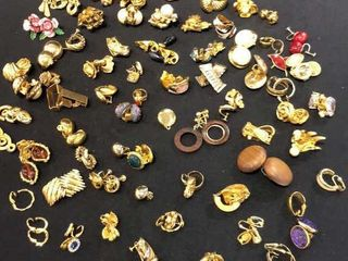 large Assortment of Gold Color Earrings