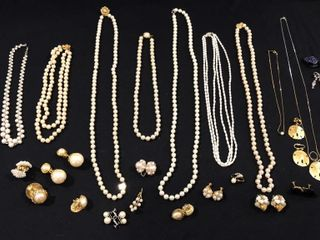 large Selection of Pearl like Necklaces  Earrings