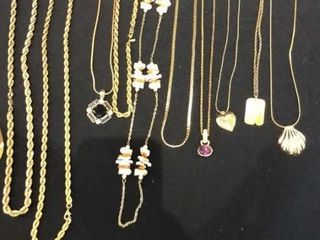 Assortment of Gold Color Necklaces