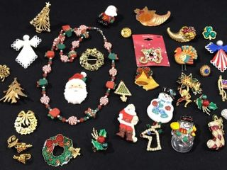 large Assortment of Christmas   Holiday Pins