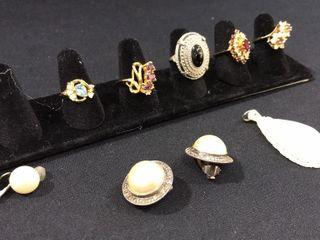 Mother of Pearl Pendant  925 Earrings  Rings