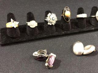 Pair of 925 Earrings   6  Ornate Rings