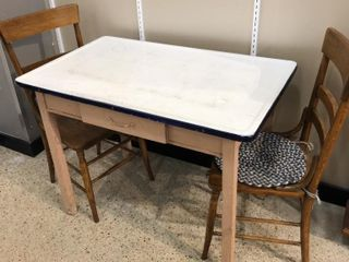 Enamel Top Table with  2  Chairs