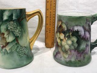 2  Ornate Decorative Green Mugs