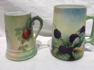 2  French Decorative Berry Mugs