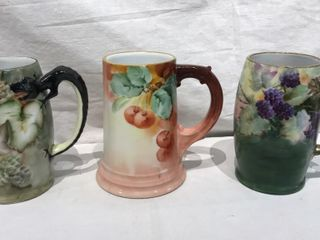 3  Gilt Decorative Mugs  1 Made in Bavaria