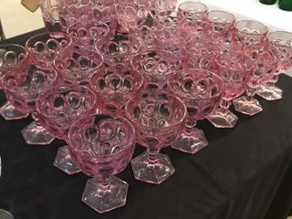 Pink Bubble Stemmed and Straight Glasses