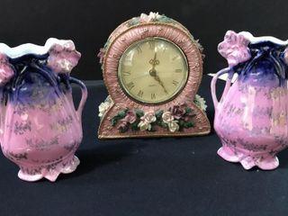 Pink Rose Clock  Decorative Pitchers