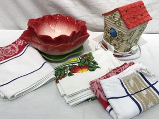 Birdhouse Candle  Flower Pot  Kitchen Towels