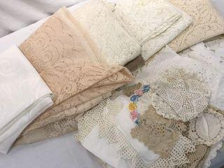 Assortment of Doilies  Table Cloths  linens