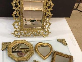 Gilt Frame Mirror  3 Small Mirrors  Glass Tray