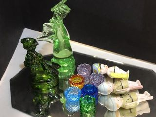 Colorful Salt Dips  Boy Figurines  Mirror