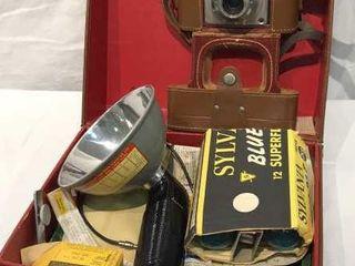 Ansco Memar Vintage Camera   Flash Set