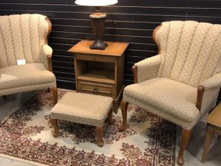 2  Fan Back Chairs with Ottoman