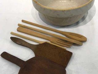 Primitive Stoneware Bowl  Vintage Wooden Utensils
