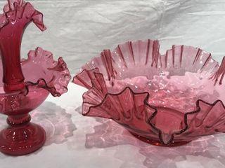 Fluted Dark Pink Bowl   Decorative Stand