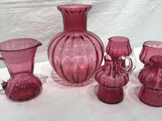 Decorative Pink Glass Pitchers   Vase  6 Pieces